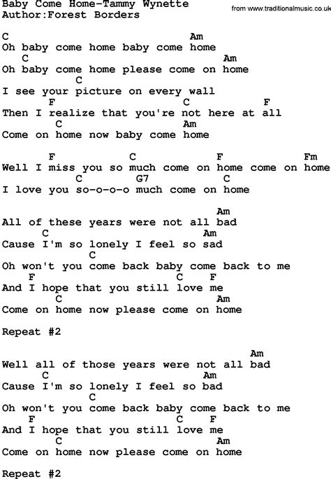 country baby come home tammy wynette lyrics and chords
