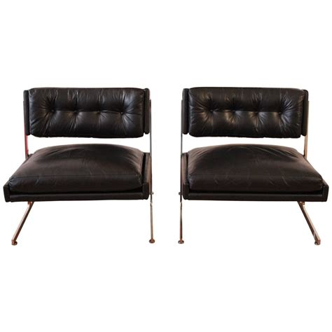 Black Leather Chairs by Harvey Probber Pair Black Leather Chairs
