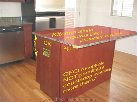 kitchen island electrical outlet kitchen gfci receptacle and other electrical requirements