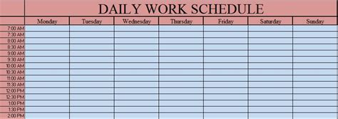daily work schedule template excel daily work schedule excel template exceldatapro
