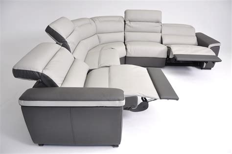 grain leather sectional sofa with 2 recliners