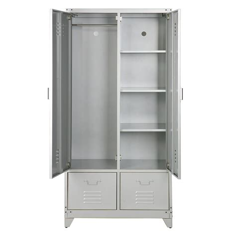 metal locker style wardrobe in grey cabinets drawers