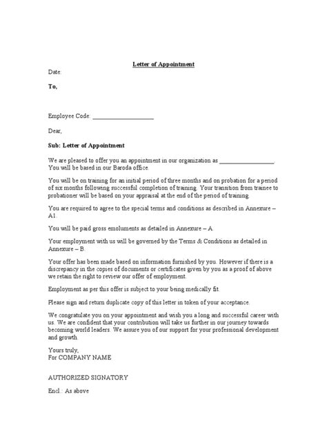 appointment letter format with bond letter of employment appointment