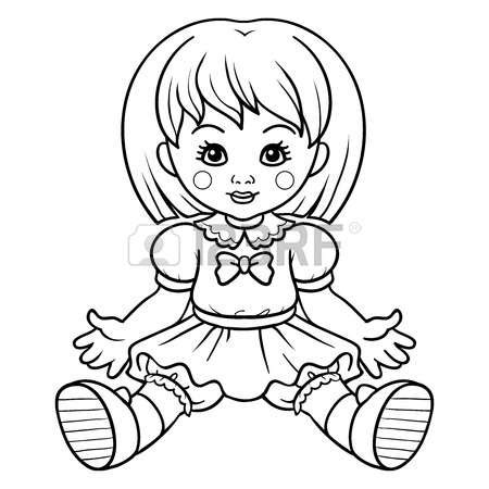 black doll and white doll doll clipart black and white 3 clipart station