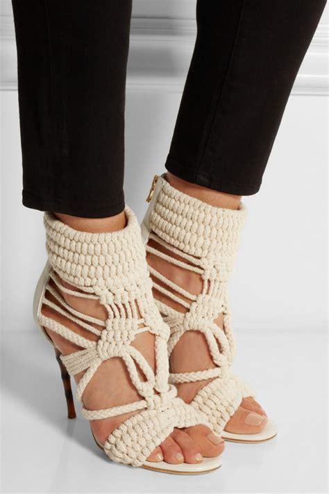 sandals shoes balmain braided cotton and leather sandals shoes post