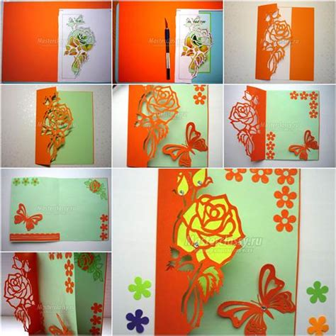 diy greeting cards template diy kirigami and butterfly card
