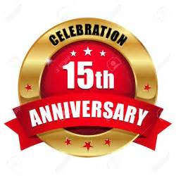 Red gold fifteen year anniversary badge royalty free cliparts