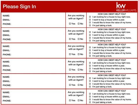 Keller Williams Open House Sign In Sheet Keller Williams Open House Sign In Sheet Template
