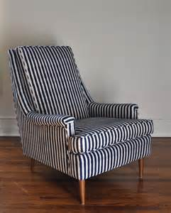 Pottery Barn Brea Mid Century Chair Upholstered In Ikat Stripe Remodelista