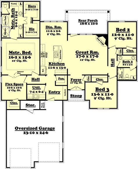 house designs with master bedroom at rear ranch style house plan 3 beds 2 baths 2000 sq ft plan