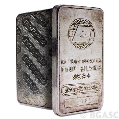 10 Oz Silver Bar - buy 10 oz engelhard silver bars 999 e logo