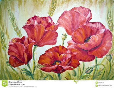 free painting poppies painting on canvas stock illustration