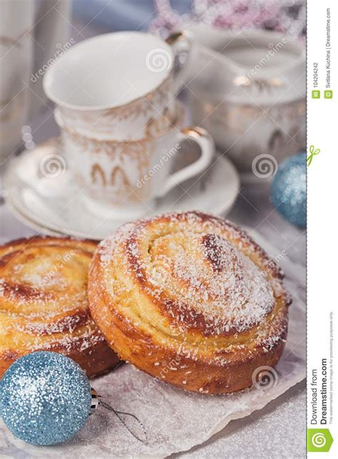 buns with christmas or new year holiday decoration stock