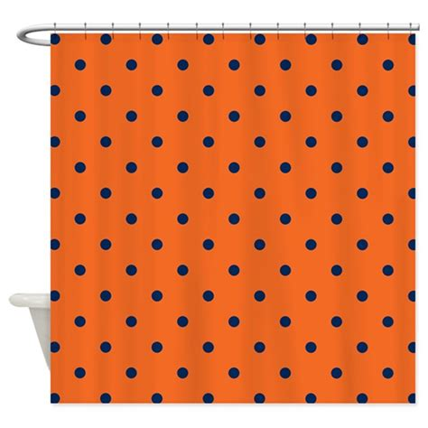Navy Blue And Orange Curtains Polka Dots Navy Blue Orange Shower Curtain By Colors And Patterns 1