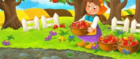 imagenes de jardines de niños animados escena de dibujos animados con la mujer de la granja en el