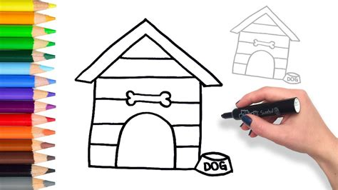 how to draw a dog house learn how to draw dog house teach drawing for kids and toddlers coloring page video