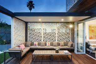 Modern privacy screen deck contemporary with sectional couch indoor