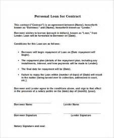 Sle Personal Loan Contract by Sle Loan Contract 8 Exles In Word Pdf