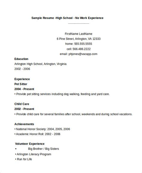 high school resume template no work experience 11 high school student resume templates pdf doc free