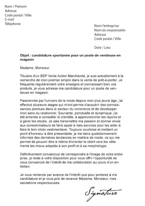 lettre de motivation vendeuse en magasin pr 234 t 224 porter