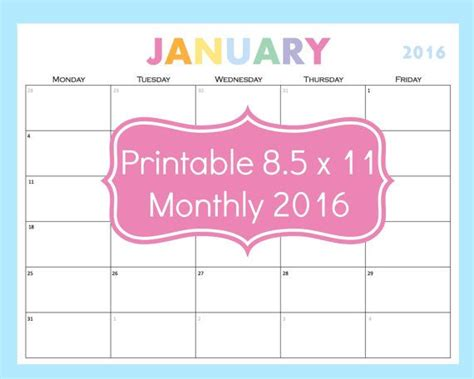 printable weekly calendar for teachers printable calendar that features a 5 day week monday