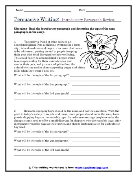 Writing Paragraphs Worksheets by Persuasive Writing Introductory Paragraph Review