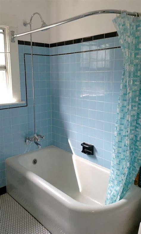 laura amp tims beautiful blue bathroom remodel retro