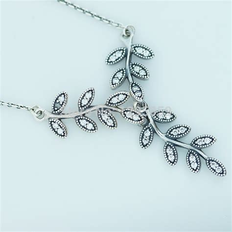 Leaves Silver Collier With Cubic Zirconia P 182 buy leaves silver collier pendant diy fits pandora necklace 100 authentic 925 sterling silver