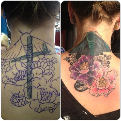 tattoo cover up ideas for neck neck tattoo traditional butterfly before and after cover