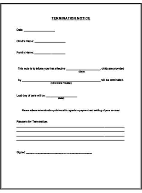 Daycare Withdrawal Notice Letter termination notice printable for child care childcare