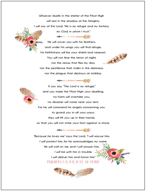 printable version psalm 91 struggling with fear psalm 91 free printable teresa