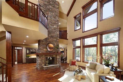 100 Fireplace Design Ideas For A Warm Home During Winter Living Room With High Ceiling