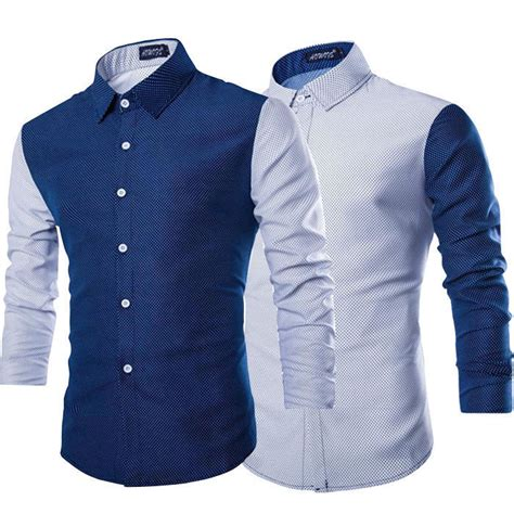 fashion mens button sleeve shirt casual slim fit