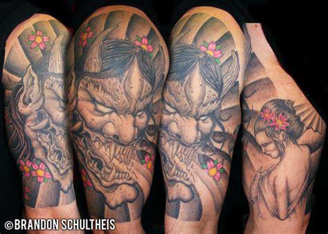 half hannya mask tattoo half sleeve japanese hannya mask tattoo design tattoos
