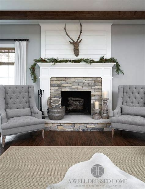 classic design flanking  fireplace  accent chairs house  hoff