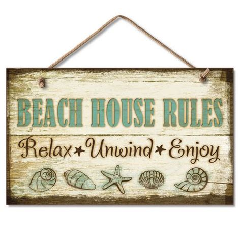 Beach Signs Home Decor | beach house rules relax unwind enjoy wood sign
