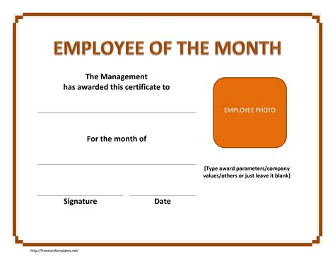Employee Of The Month Certificate Template Word employee of the month template