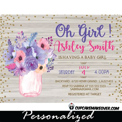 Pink And Purple Baby Shower Invitations by Jar Baby Shower Invitations White Wood Pink And Purple Flowers Cupcakemakeover