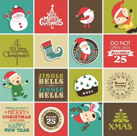 vintage christmas elements and labels vector 02 free