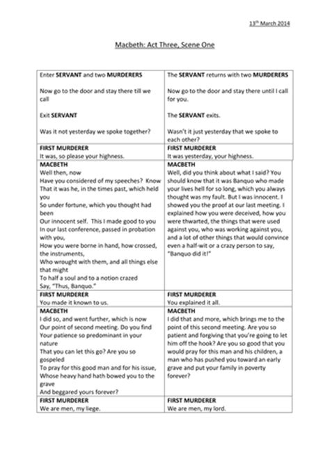 macbeth themes handout macbeth act 3 scene 1 worksheets by ag 467 teaching