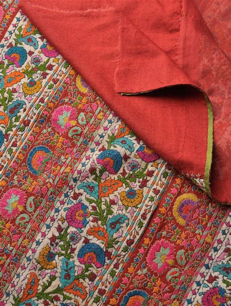 embroidered border all pashmina wool shawl textiles and prints shawl