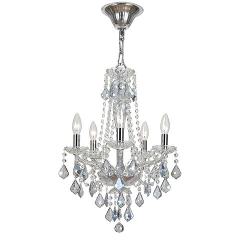 Small Glass Chandelier Five Light Blue Mini Chandelier By Crystorama