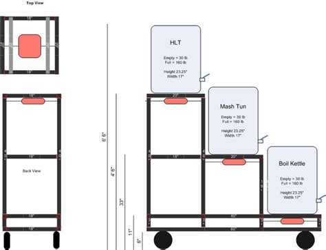 home brewery layout 3 tier rolling brew stand design brewing pinterest