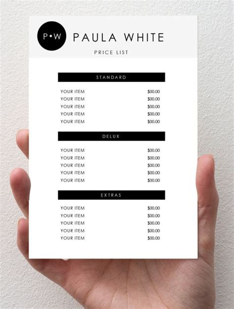 price list template create your own for free