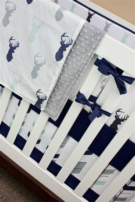 Deer Themed Crib Bedding Crib Bedding Boy Woodland Nursery Baby Bedding Navy Mint And Gray Deer Buck Antler Feather