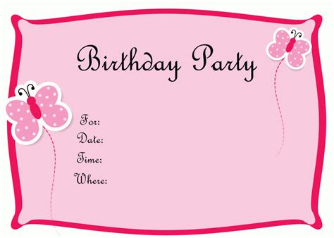 invite card template birthday invitation card template best template collection