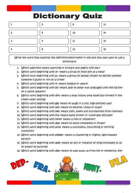 dictionary worksheets dictionary quiz 1 worksheet free esl printable worksheets made by teachers