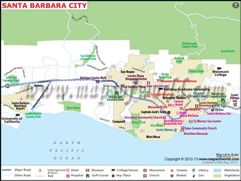 of california santa map maps update 1200769 santa barbara tourist attractions