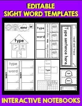 Sight Word Interactive Notebook Editable Templates School Activities And Kindergarten Interactive Word Document Templates