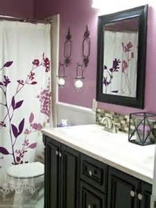our purple guest bathroom vanity back splash and mirrors